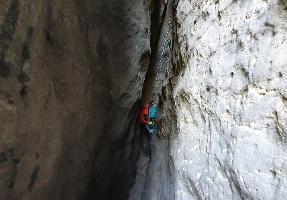 Foto Der Einstieg in den oberen Teil der Häntzschelstiege