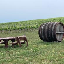Rastplatz am Weg mit Weinfass als Unterschlupf bei Regen