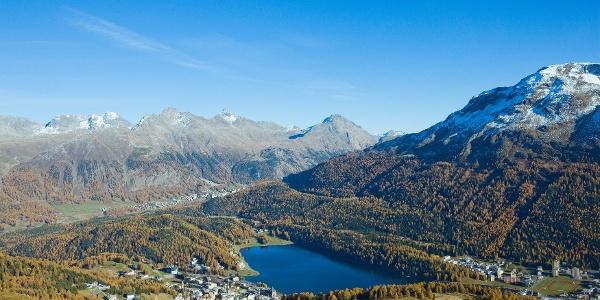 Sicht hinunter auf St. Moritz