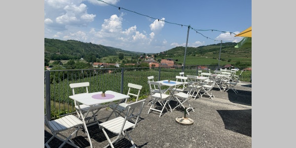 Leo´s Genussheuriger - Terrasse mit Blick in die Weingärten