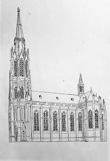Zeichnung der Heilig-Kreuz-Kirche in Obergiesing
