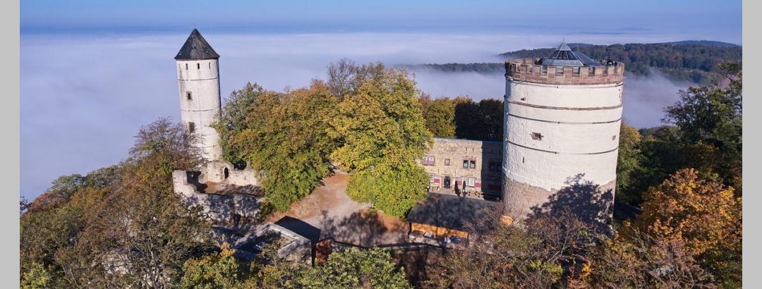 Die Burg Plesse mit Blick vom Ibenberg im Friedwald.