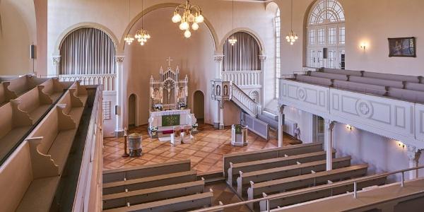 St. Markus Kirche in Scheden- Blick von der Empore