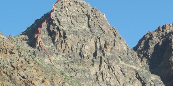 Routenverlauf der Tour (rot) und Zu- / Abstieg (grün)