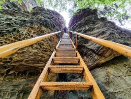 Foto Die steile Leiter der Sachsensteinstiege