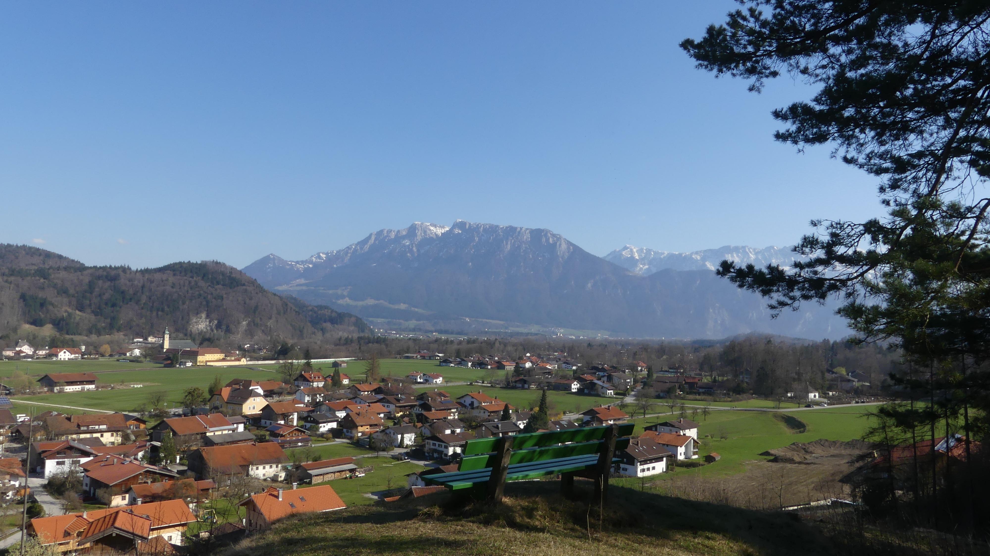 Aussicht auf Niederaudorf und das Kaisergebirge