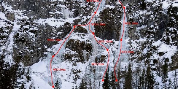 Übersichtsfoto mit Topo und den drei möglichen Linien