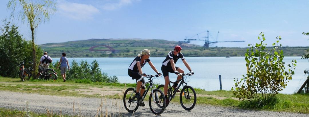 Radfahrer am Markkleeberger See