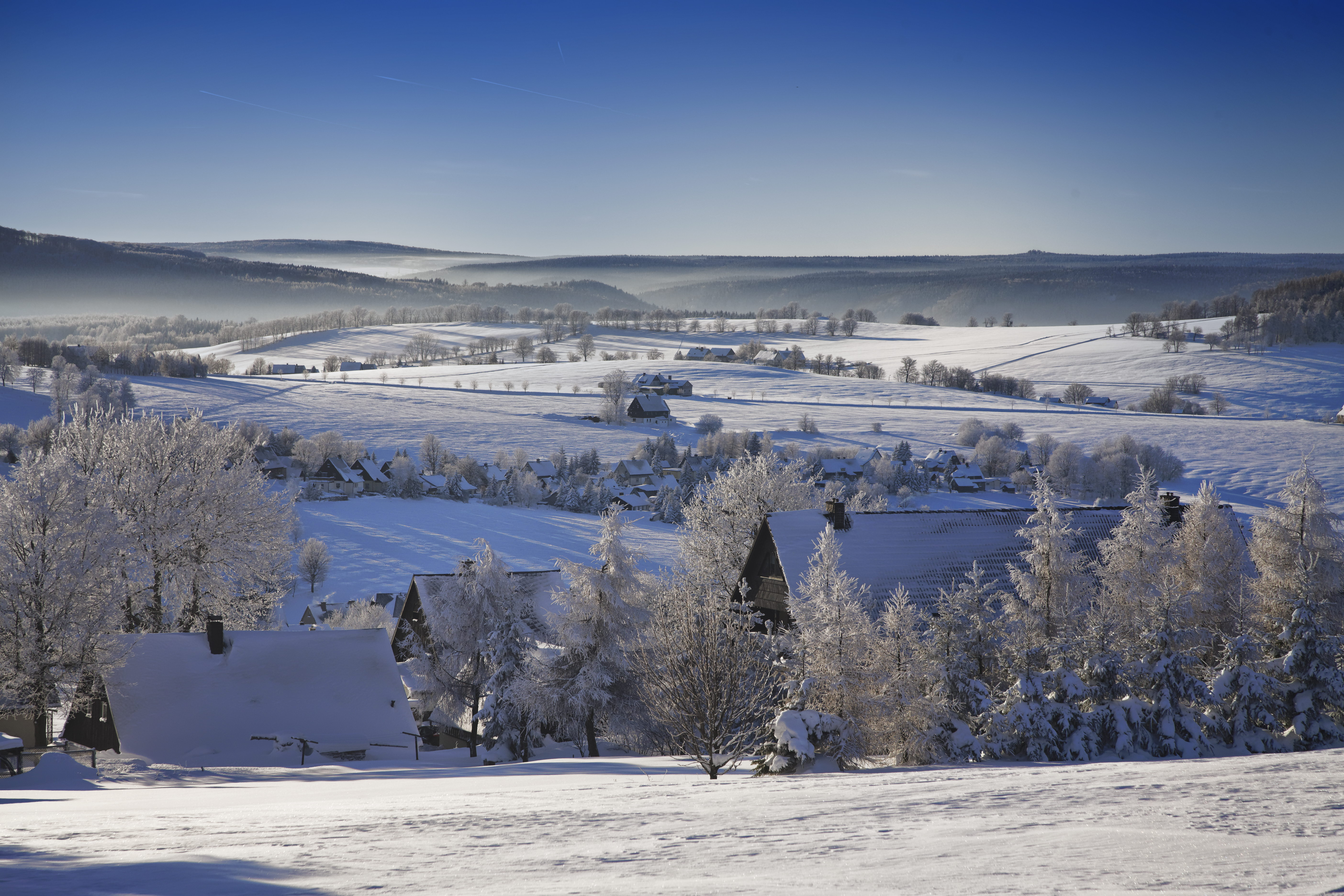 Blick über das winterliche Seiffen