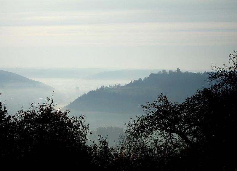 Blick auf Igersheim mit Burg Neuhaus im Morgennebel von der Reisfelder Höhe aus