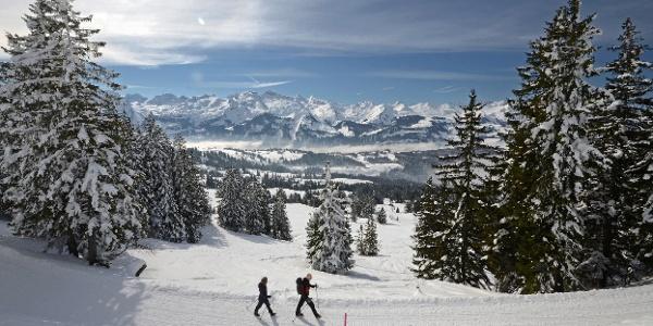 Winterwanderung Mythenregion mit Bergpanorama