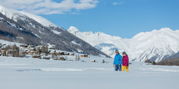 Winter hiking along picturesque mountain villages