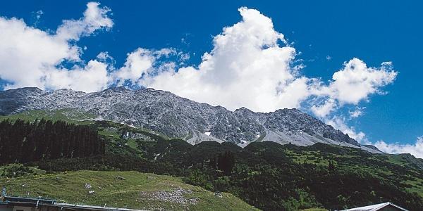 Hinter der Alp Vals trohnt die mächtige Schesaplana
