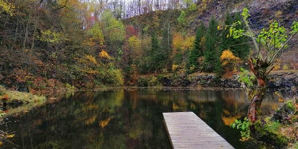 Steinbruch-Teich am Fuß des Geisingberges