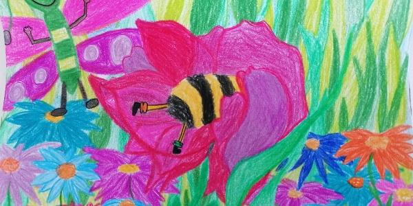 Bibi die Biene trifft auf Heuschrecke