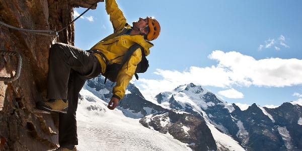 Am Klettersteig Piz Trovat 2.