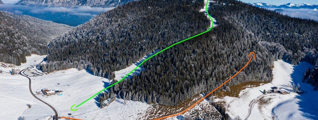 Übersichtsbild Skitour auf das Hochschwarzeck - Topo.