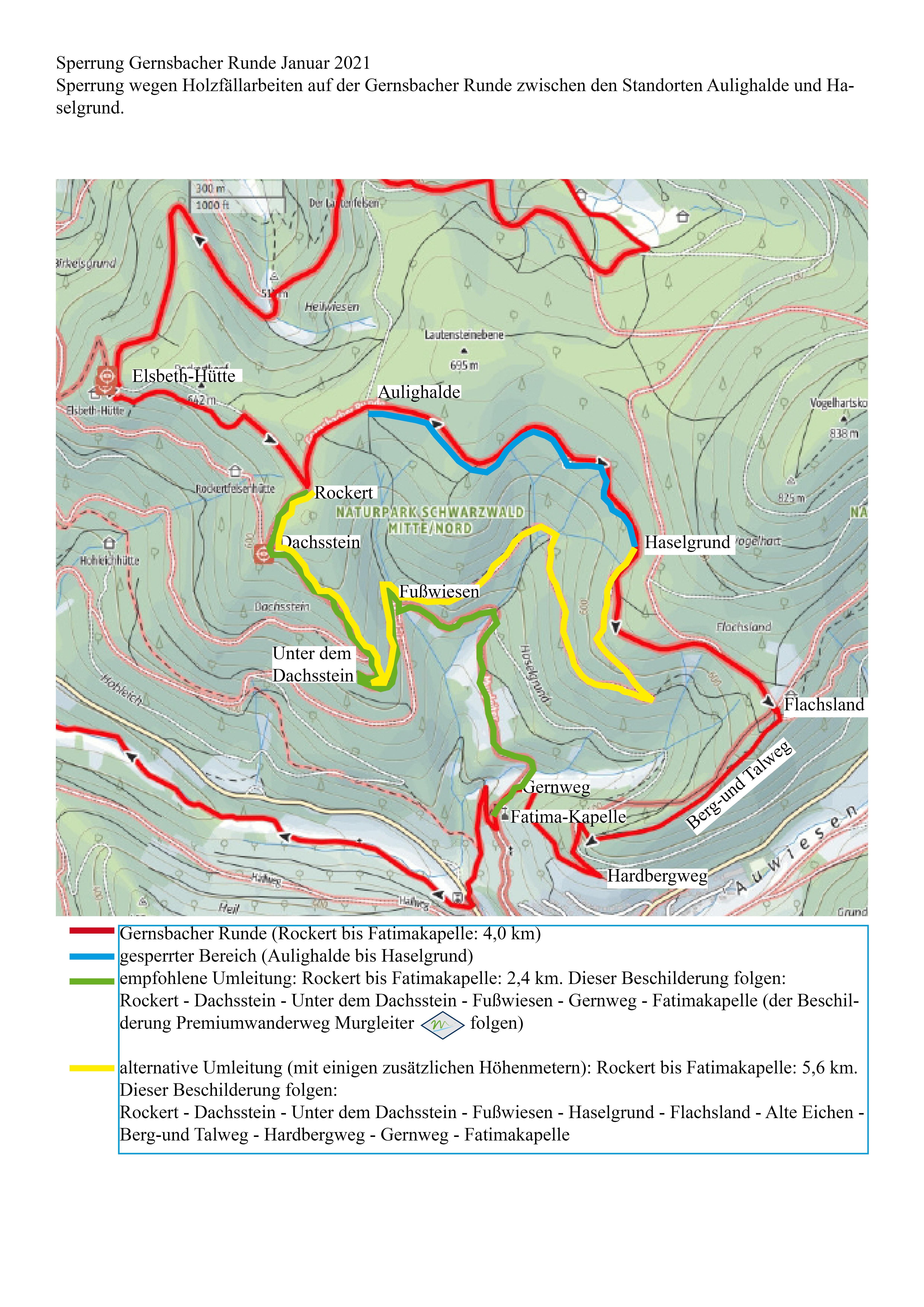 Umleitung Gernsbacher Runde Januar 2021 zwischen Aulighalde und Haselgrund