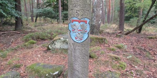 Der Leininger Grenzstein am Wegesrand des Ganerbenweges.