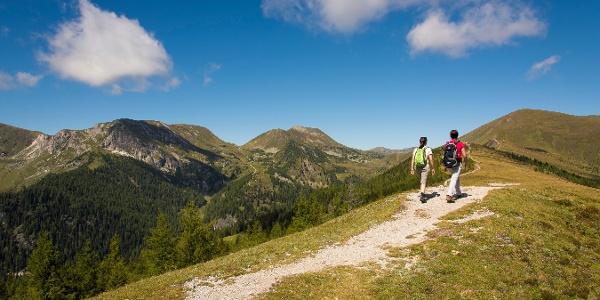 Auf der Brunnachhöhe mit Blick ins Langalmtal.
