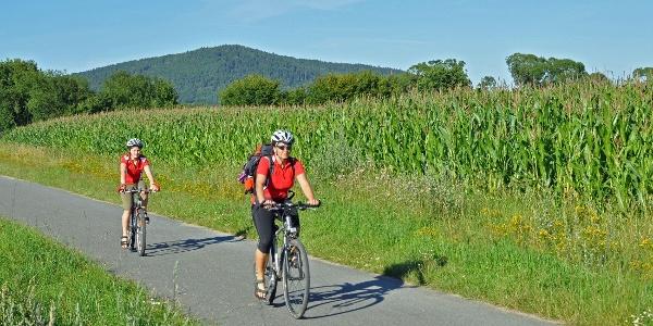 Radfahrer in Coburg.Rennsteig