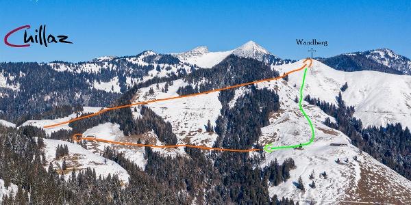 Übersichtsbild Skitour Wandberg - Topo.