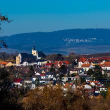 Blick auf Ober-Ingelheim und Hohe Wurzel