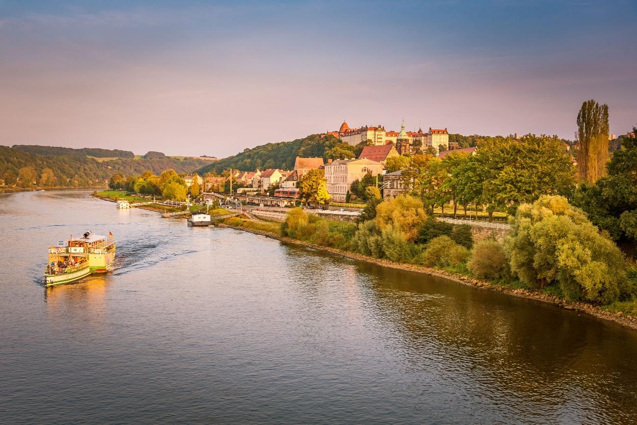 Pirna - Blick von der Elbbrücke Richtung Altstadt und Sonnenstein