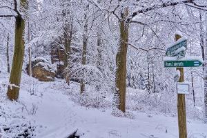 Foto Aufstieg in die Felsenwelt des Bielatals im Winter