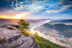 Foto Blick vom Lilienstein am Morgen