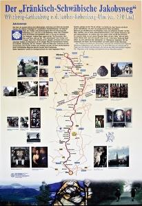 Würzburg - Orientierungstafel vor der Schottenangerkirche