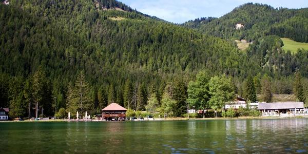 This mountain bike tour takes you along Lake Dobiacco