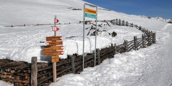 Schneeschuhwanderung im Skigebiet Schwemmalm. Die Wegschilder zeigen die Richtung!