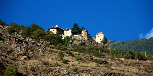 The beginning of the Alta Via high route in Val Venosta valley, the Castel Juval.