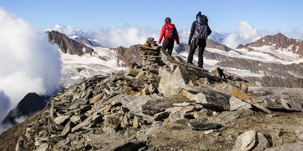 On the top of the Cima della Anime the hiker finds bizare landscape.
