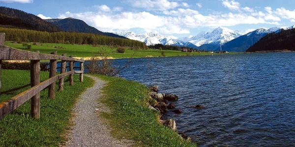 Der Haiderse im Vinschgauer Oberland, im Hintergrund der Ortler