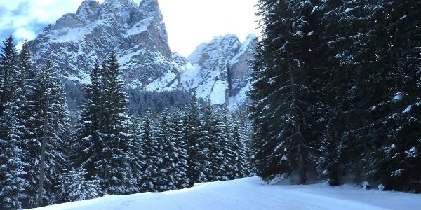 Eine imposante Berglandschaft - das erwartet den/die Langlaufbegeisterten im Pragsertal.