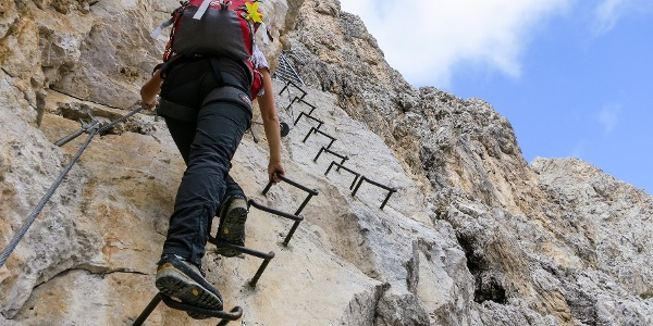 "The via ferrata ""Oskar- Schuster- Weg"" which leads to the Sasso Piatto mountain."