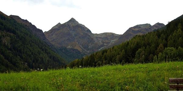 Blick von der Sonnenstraße bei Terenten hoch zu der Kempspitze in den Pfunderer Bergen.