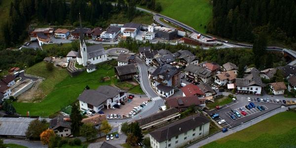 Blick auf Moos in Passeier, Start und Ziel der MTB Tour zum Schneeberg.