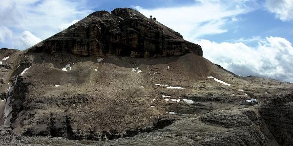 The impressive Piz Boè mountain, at the right the rifugio Boè mountain hut.