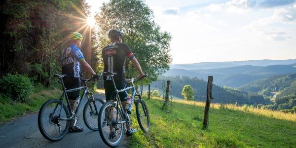 Radfahrer genießen  Aussicht