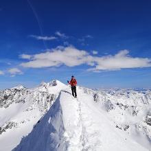 Gipfelrücken der Schaufelspitze mit Blick zum Wilden Freiger, Wilden Pfaff und Zuckerhütl