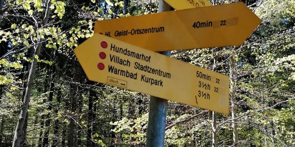 Wanderzeichen am Weg nach Heiligengeist