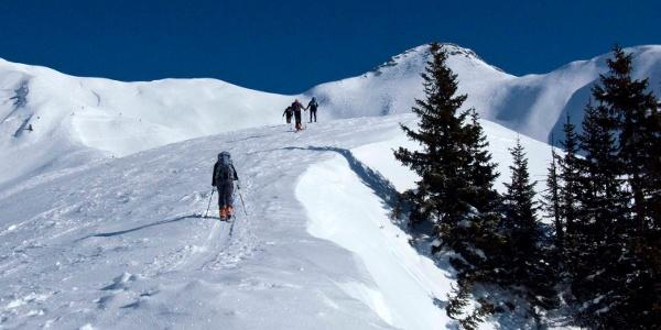 Vom Farenegg zeigt sich der ausgedehnte Gipfelkamm in voller Pracht.