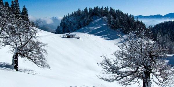 Idyllische Berglandschaft bei der Schlehdorfer Alm