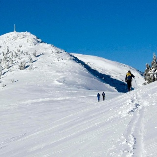Der Gipfelanstieg; über die Hänge rechts des Gipfels geht es nach Aurach hinunter.