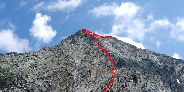 Säuleck mit Verlauf Südwand-Klettersteig