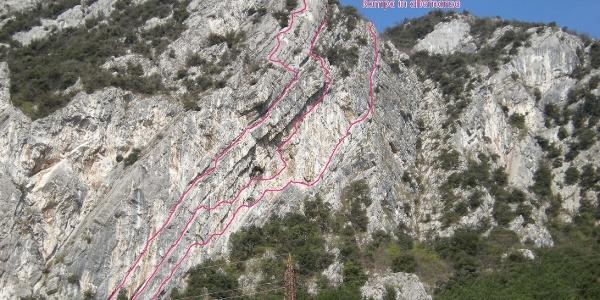 Routenübersicht Klettergebiet Due Laghi