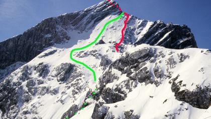 Alpspitz Nordwand mit Routenverlauf
